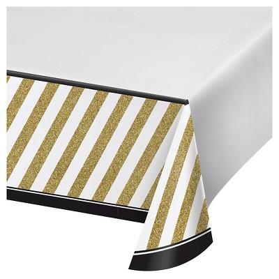 225 & Black \u0026 Gold Plastic Tablecloth
