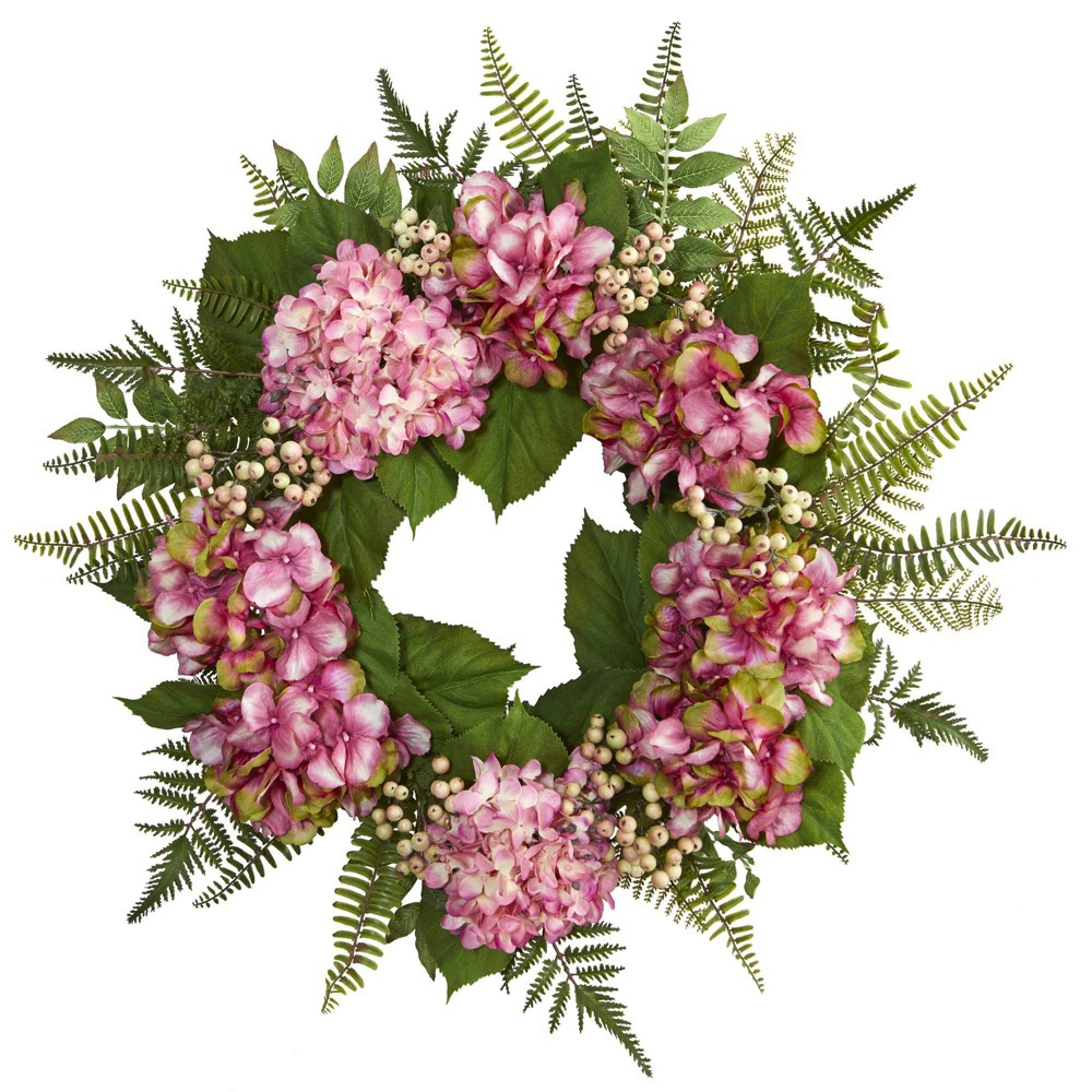 "Image of ""24"""" Artificial Hydrangea & Berry Wreath Pink/Green - Nearly Natural"""