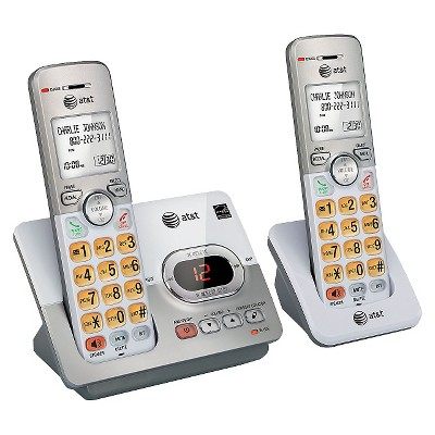 AT&T EL52203 DECT 6.0 Expandable Cordless Phone System with Answering Machine, 2 Handsets - Silver