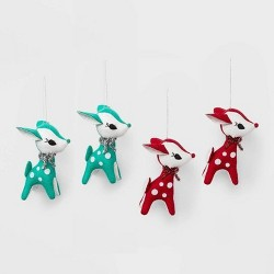 4ct Retro Plush Reindeer Christmas Ornament Set Red and Green - Wondershop™