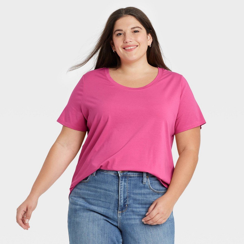 Women 39 S Plus Size Essential Relaxed Scoop Neck T Shirt Ava 38 Viv 8482 Pink 3x
