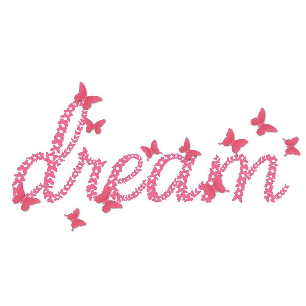 3D Dream with Butterflies Wall Decal, Multi-Colored