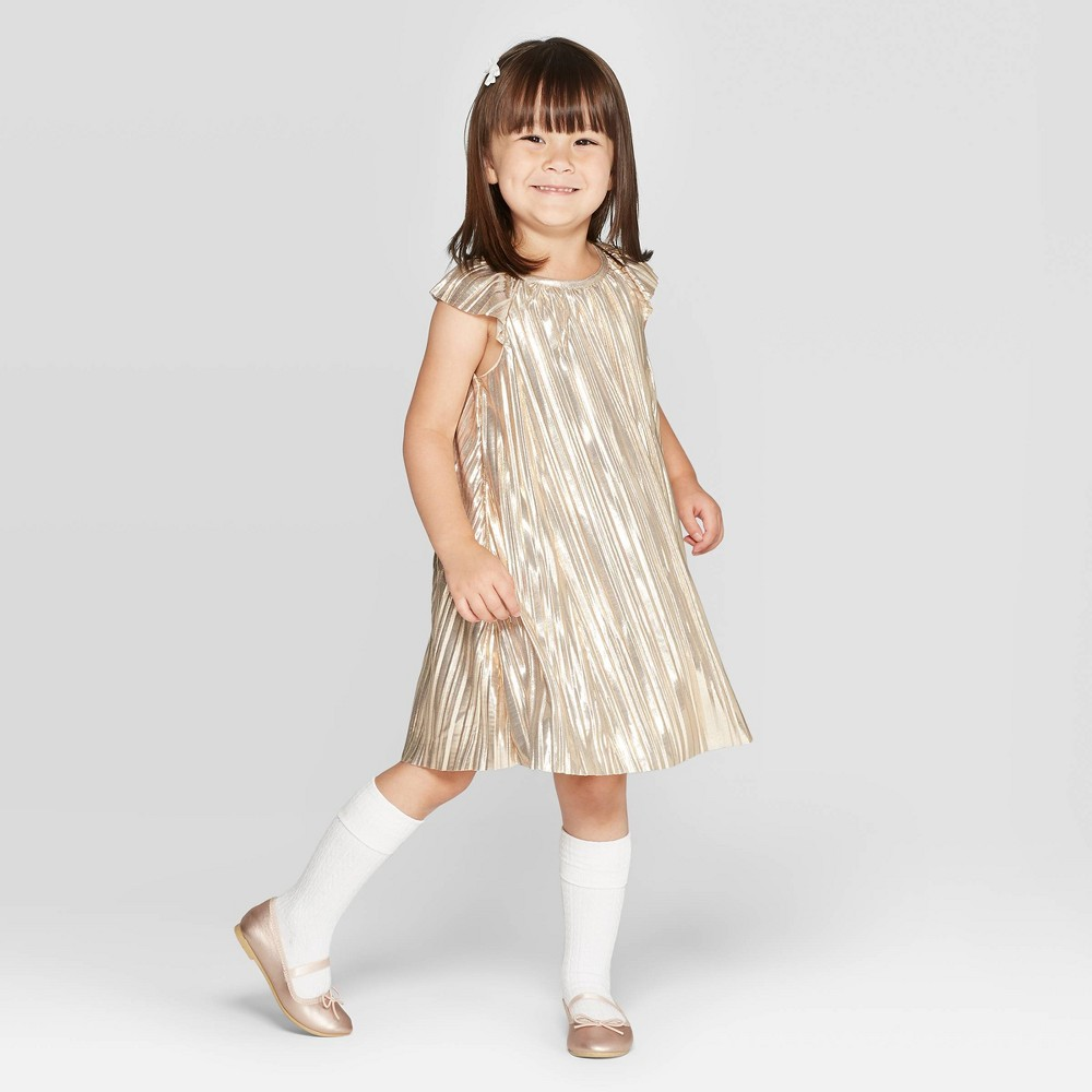 Vintage Style Children's Clothing: Girls, Boys, Baby, Toddler OshKosh Bgosh Toddler Girls Pleated A-Line Dress - Gold 5T Toddler Girls $17.99 AT vintagedancer.com