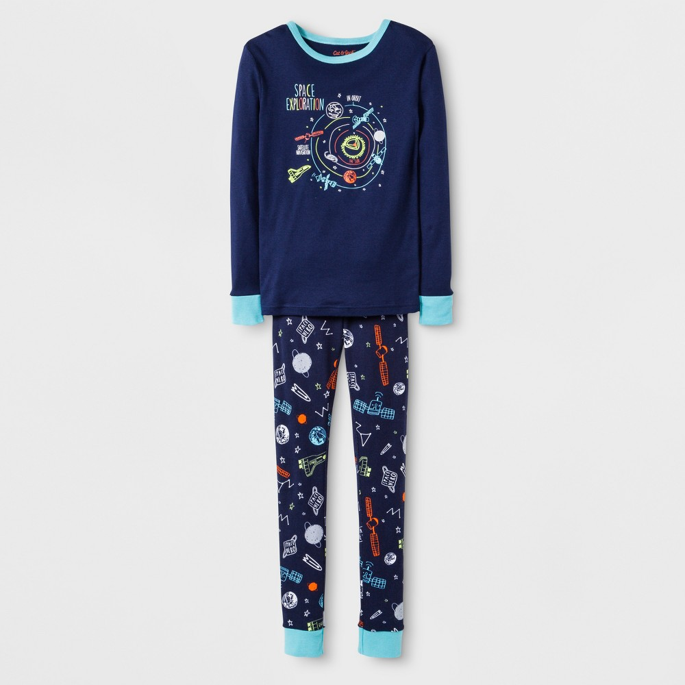 Boys' Space Graphic Tight Fit Pajama Set - Cat & Jack Navy 8, Blue