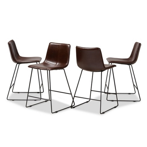 Outstanding Set Of 4 Carvell Faux Leather Upholstered Pub Stool Set Dark Brown Black Baxton Studio Ncnpc Chair Design For Home Ncnpcorg
