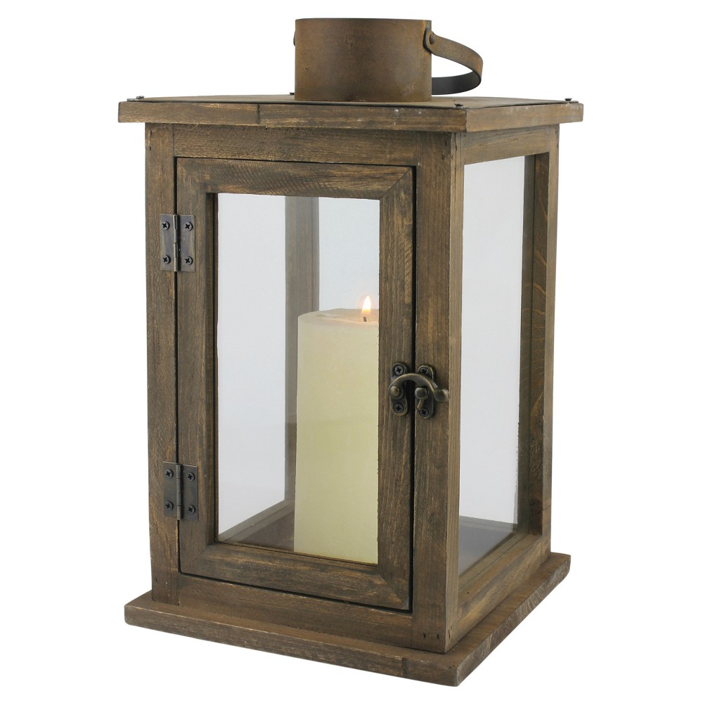 "Image of ""12.9"""" Stonebriar Rustic Wooden Candle Holder Lantern - CKK Home Decor, Clear Brown"""