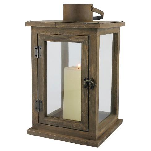 12 9 Stonebriar Rustic Wooden Candle Holder Lantern Ckk Home