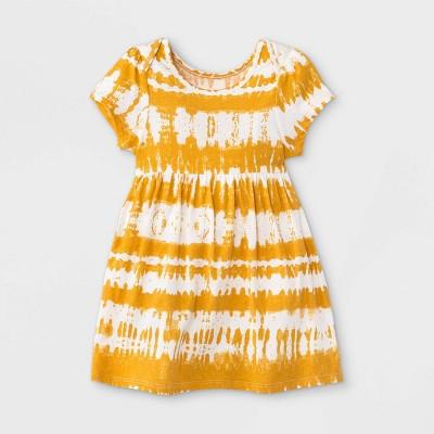 Grayson Mini Baby Girls' Tie-Dye Short Sleeve Bodysuit - Yellow Newborn