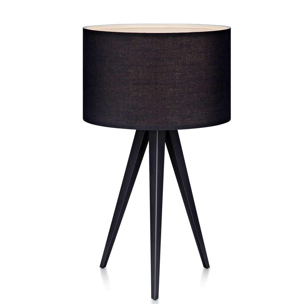 Image of Romanza Tripod Table Lamp with Black Shade (Includes Energy Efficient Light Bulb) - Versanora