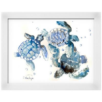 Sea Turtles White Wood Framed Art Print