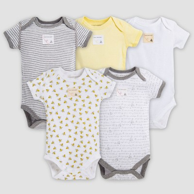 Burt's Bees Baby® Organic Cotton 5pk Short Sleeve Bodysuit Set - Sunshine 3-6M