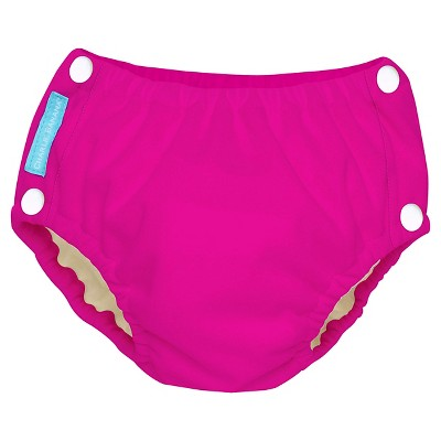 Charlie Banana Reusable Easy Snaps Swim Diaper, Hot Pink - L