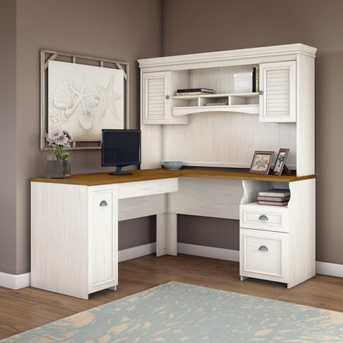 Bush Furniture Fairview L Shaped Desk With Hutch In Antique White Target