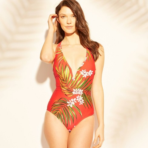 Women's Strappy Back V-Wire One Piece Swimsuit - Kona Sol™ Coral - image 1 of 2