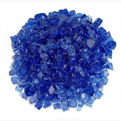 American Fireglass 10 LB Bag 1/2 Inch Reflective Fireplace & Firepit Fire Glass, Cobalt Blue