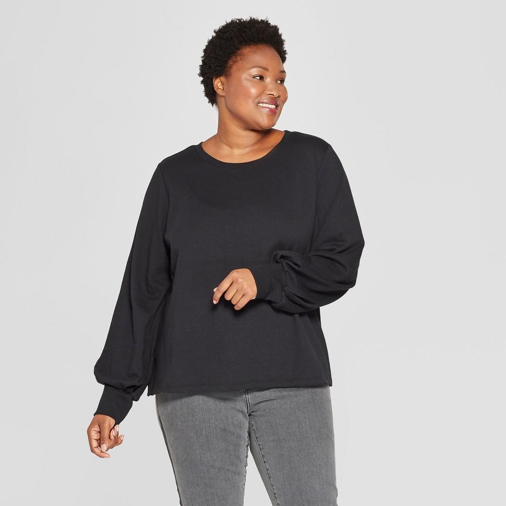 Women's Plus Size Balloon Long Sleeve Pullover - Ava & Viv Black 1X