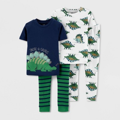 Toddler Boys' 4pc Dino 100% Cotton Short Sleeve Pajama Set - Just One You® made by carter's Blue/Green 3T