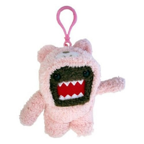 """License 2 Play Inc Domo 4"""" Plush Clip-On: Domo (Pink Bunny Suit) - image 1 of 1"""