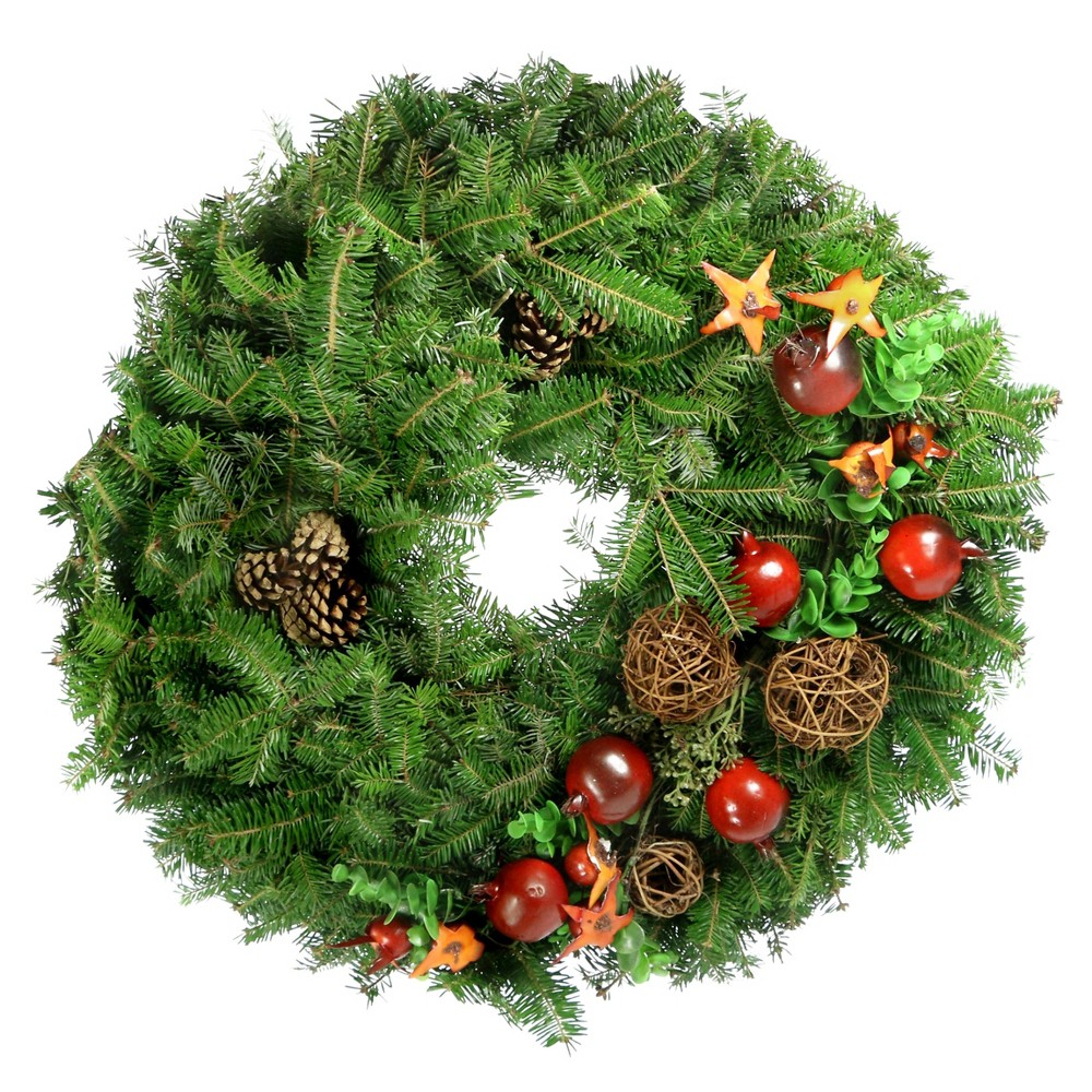 "Image of ""24"""" Live Fresh Cut Grapevine Wreath - Cottage Hill"""