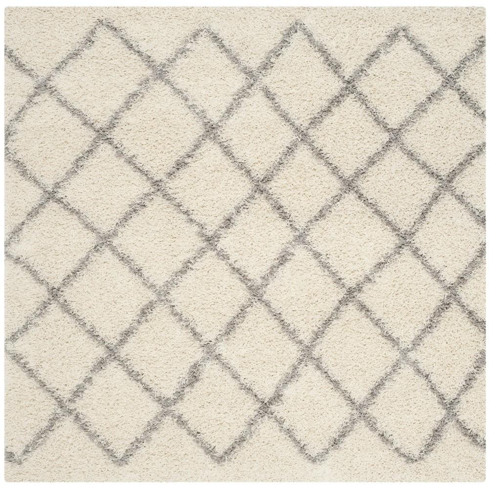 6'X6' Geometric Loomed Square Area Rug Ivory/Gray - Safavieh