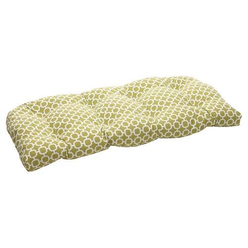 Outdoor Wicker Bench/Loveseat/Swing Cushion - Green/White Geometric
