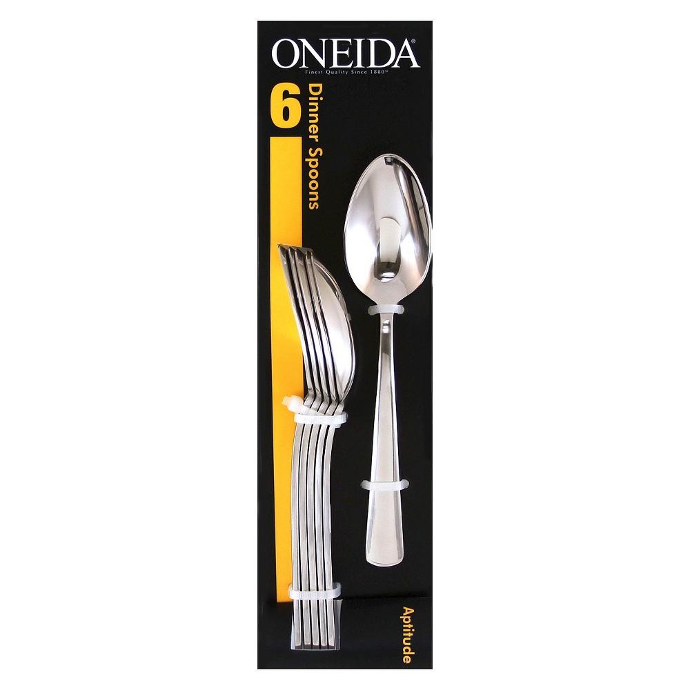 Image of Oneida Aptitude Dinner Spoon Set of 6, Silver