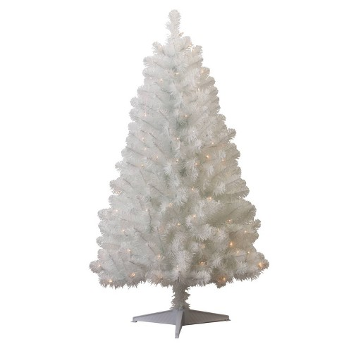 4.5ft Pre-lit Artificial Christmas Tree White Alberta Spruce Clear Lights -  Wondershop™