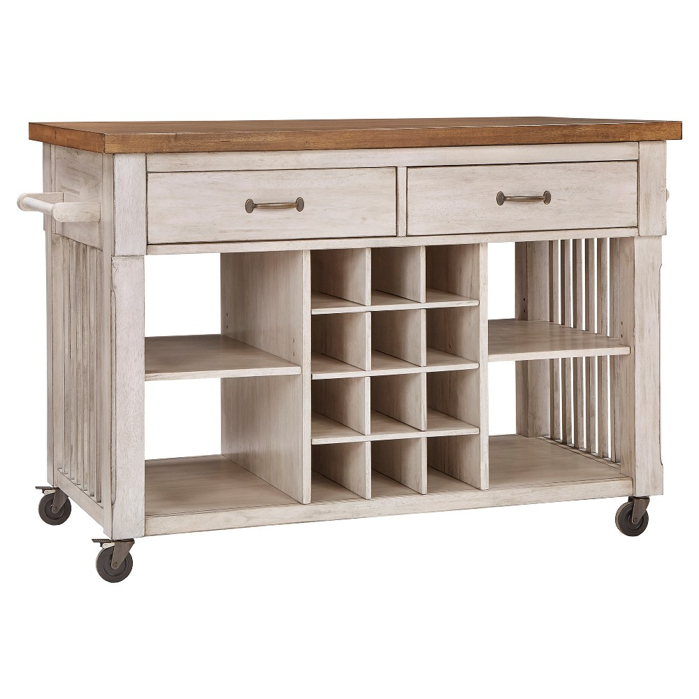 South Hill Wood Top Kitchen Cart With Wine Rack - Antique White - Inspire Q