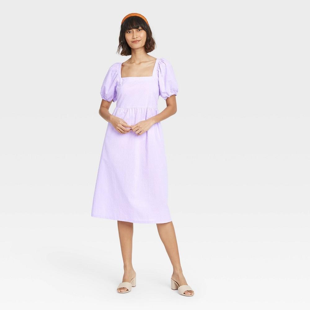Women 39 S Puff Short Sleeve Dress A New Day 8482 Purple Xs