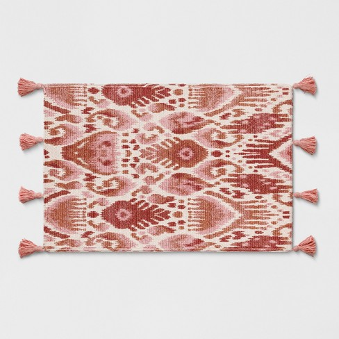 Pink/Orange Ikat Braided Tasseled Accent Rug 2'X3' - Opalhouse™ - image 1 of 3