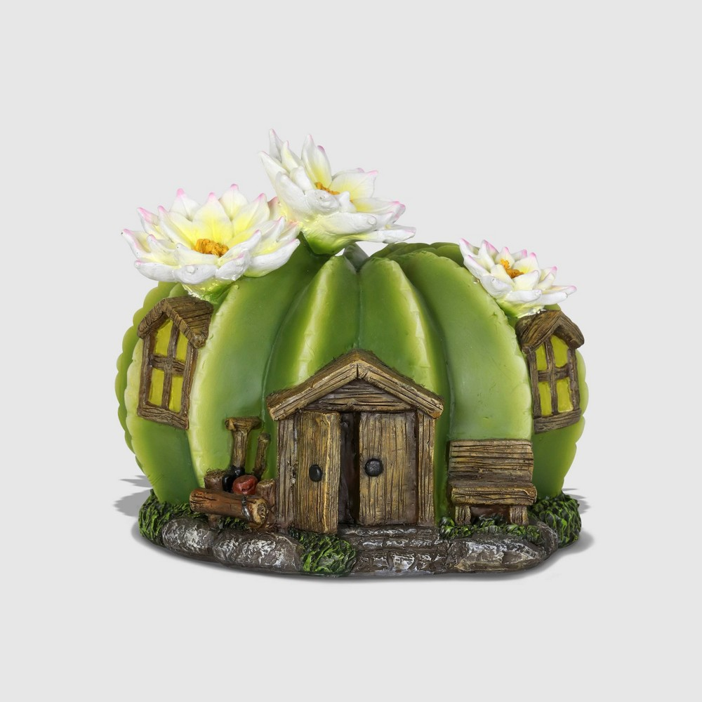 "Image of ""7"""" Resin Solar Round Cactus Fairy House With White Cactus Flower Green - Exhart"""