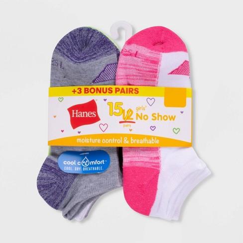 Hanes Girls' 12+3 Bonus Pack No Show Athletic Socks - image 1 of 1