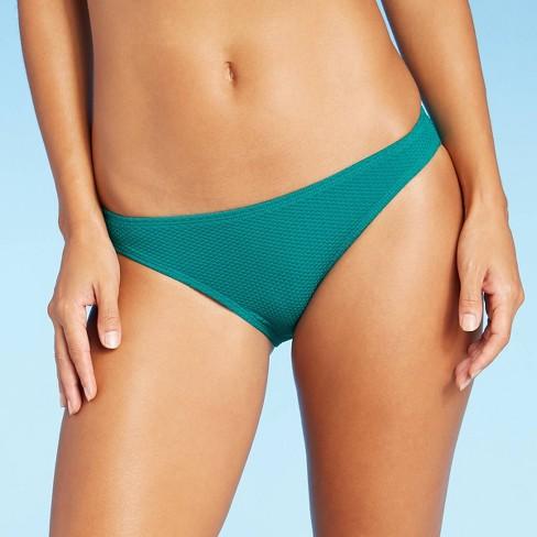 Juniors' Textured Cheeky Bikini Bottom - Xhilaration™ Dark Teal - image 1 of 4
