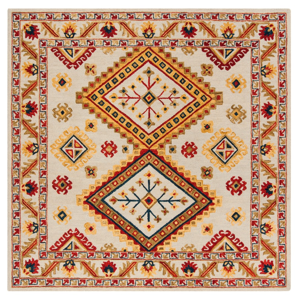Tribal Design Tufted Square Area Rug 7x7 Safavieh Ivory
