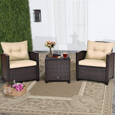 Costway 3PCS Patio Rattan Furniture Set Cushioned Conversation Set Sofa Turquoise Beige\Red\Turquoise