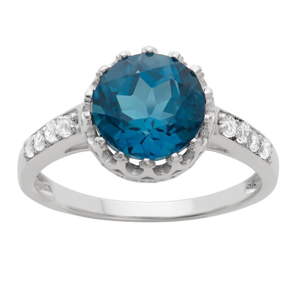 2 Tcw Tiara Round-cut Swiss Blue Topaz Crown Ring in Sterling Silver - (7)