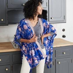Women's Floral Print Long Sleeve Kimono Jacket - Knox Rose™ Blue Sapphire