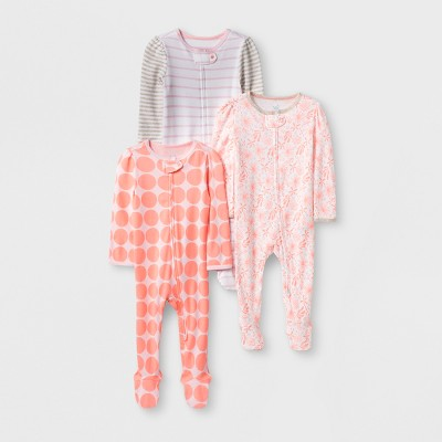Baby Girls' 3pk Print Zip Sleep 'N Play - Cloud Island™ White/Pink Newborn