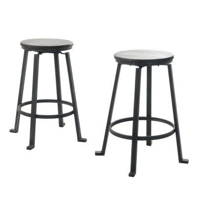 """Set of 2 Lolita 27"""" Firwood Swivel Counter Height Barstools - Black - Christopher Knight Home"""
