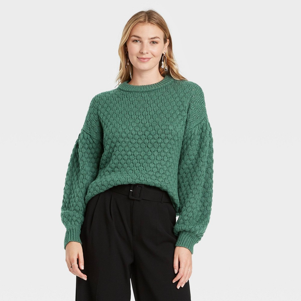 Women 39 S Crewneck Textured Pullover Sweater A New Day 8482 Teal Xs