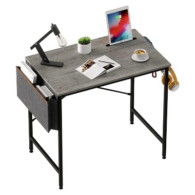Bestier Computer 32 Inch Modern Mini Style Office Desk with Adjustable Metal Frame, Storage Bag, and Working Table for Small Bedroom Space, Grey