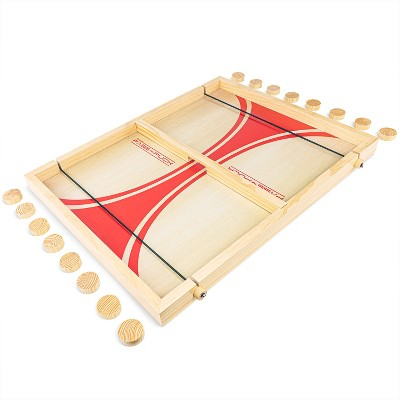 GoSports Pass The Puck Rapid-Shot Premium Wooden Indoors Tabletop Board Game Set, Natural Finish