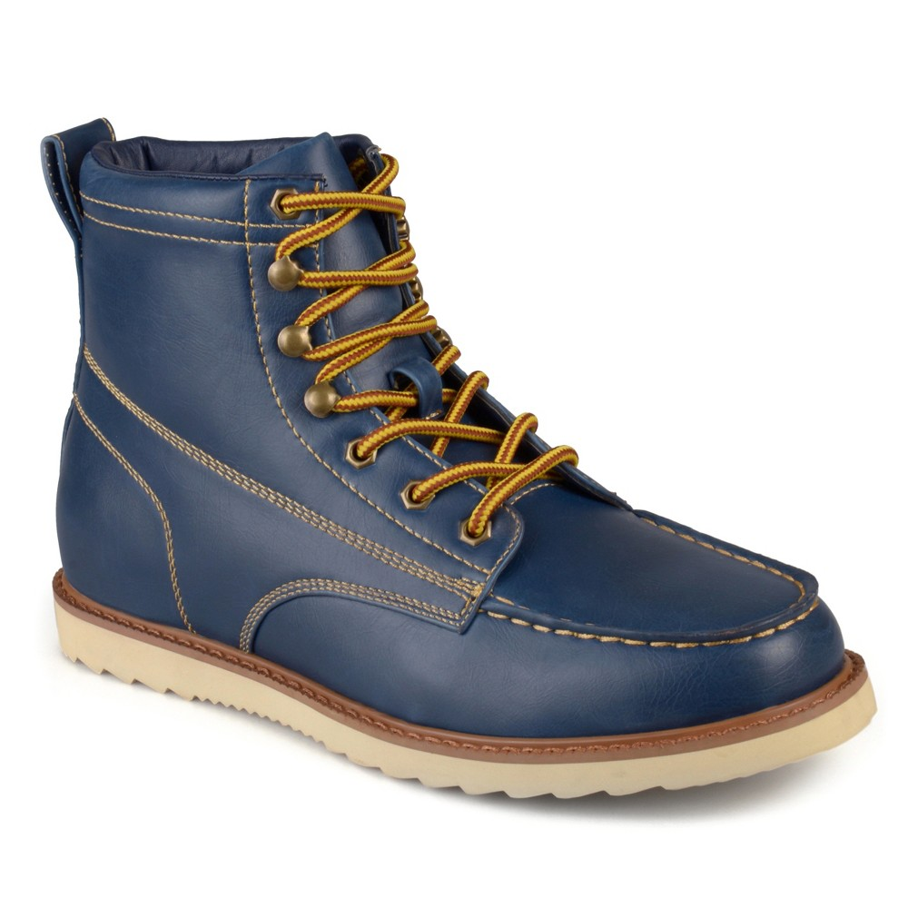 Men's Vance Co. Wyatt Faux Leather Lace-up Moc Toe Work Boots - Blue 7