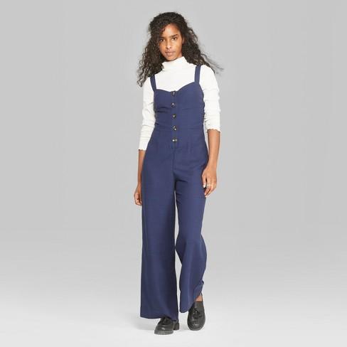 e8f56e1432 Women s Strappy Button Front Tie Back Jumpsuit - Wild Fable™ Oxford ...
