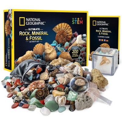NATIONAL GEOGRAPHIC Rocks & Fossils Kit, 200+ Piece Set with Many Crystals, Gemstones, Geodes, Real Fossils, Rose Quartz, Jasper, Aventurine & More