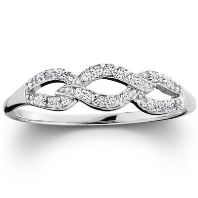 Pompeii3 1/10ct Petite Diamond Infinity Ring 10K White Gold
