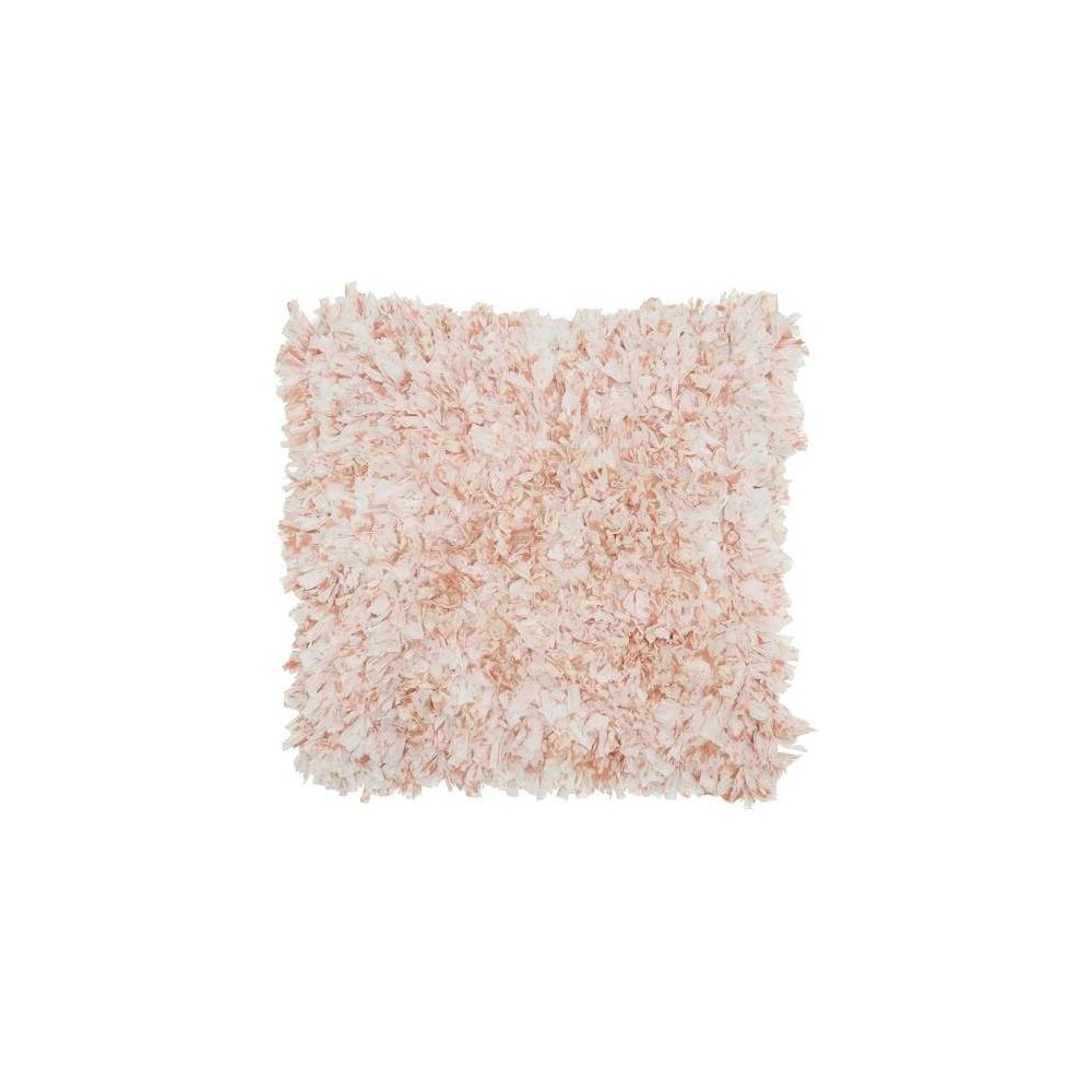 Image of Sprinkle Cut Chindi Shag Square Throw Pillow Pink - Mina Victory