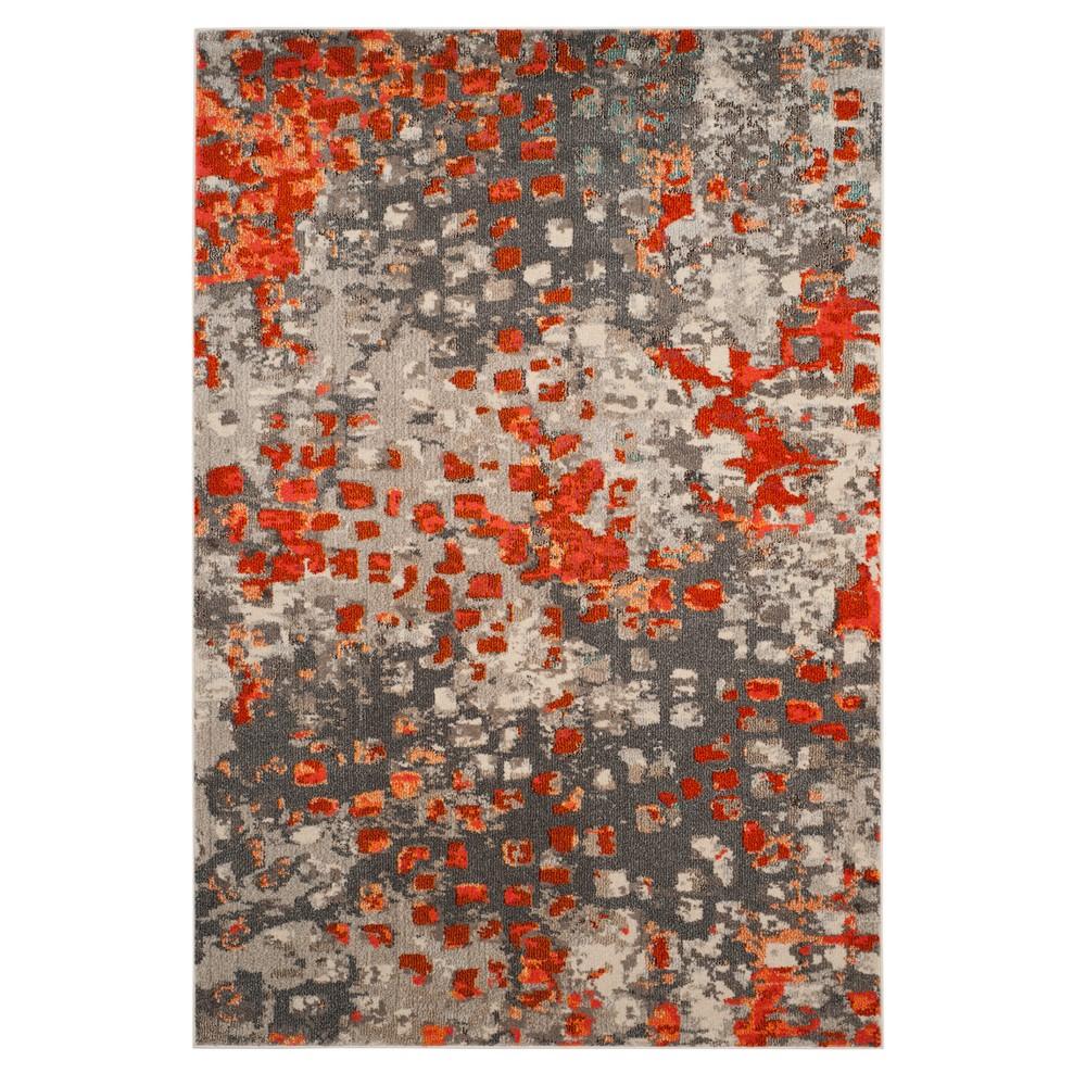 Gray/Orange Splatter Loomed Area Rug 5'1