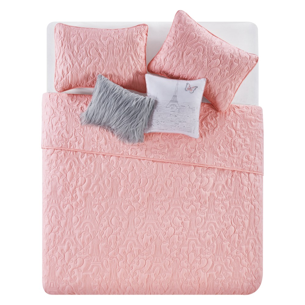 When In Paris Pink Quilt (Full/Queen) - 5pc - Vcny Home
