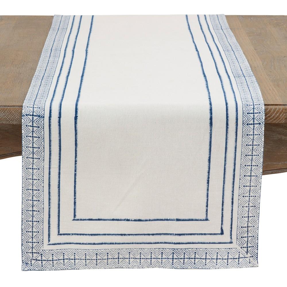 Best Saro Lifestyle 72X16 Hand Blocked Aztec Print Table Runner White Blue WhiteBlue